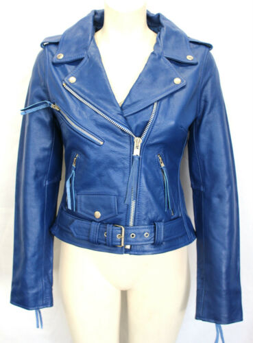 New Ladies Women Brando Blue Biker Rock Gothic Biker Style Hide Leather Jacket