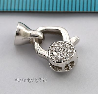 1x Rhodium plated STERLING SILVER CZ CRYSTAL BEADING CORD END CAP CLASP #2743