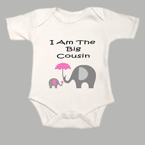 I Am The Big Cousin Elephants Baby Grow Gro BodySuit Body Suit Vest Pink Gift