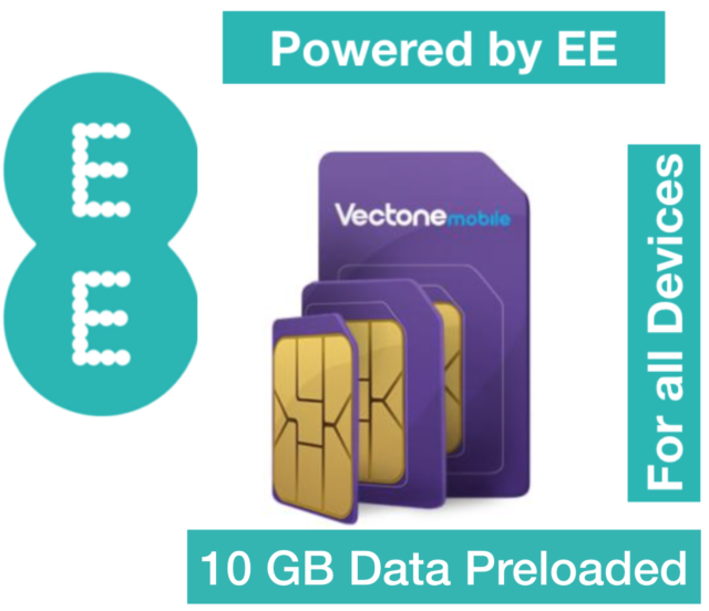 Vectone Powered by EE Data Sim card, Preloaded with 10GB Data for Unlock Dongles