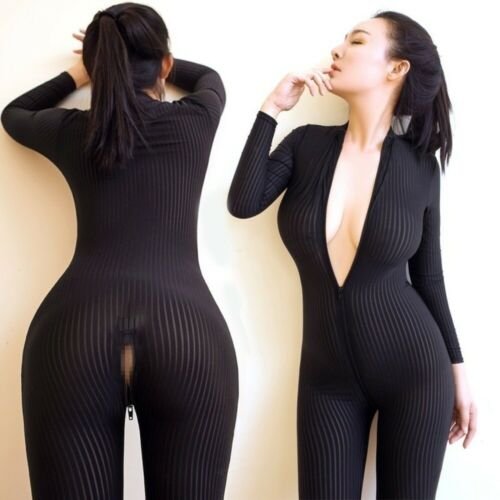 丨丨Sexy Leopard Dame Black Striped Sheer Bodysuit Smooth Fiber 2 Zipper Plus Size