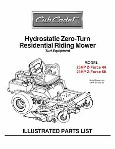 Cub Cadet Zero Turn Parts Diagram.Details About Cub Cadet Zero Turn Z Force 44 50 Parts Manual