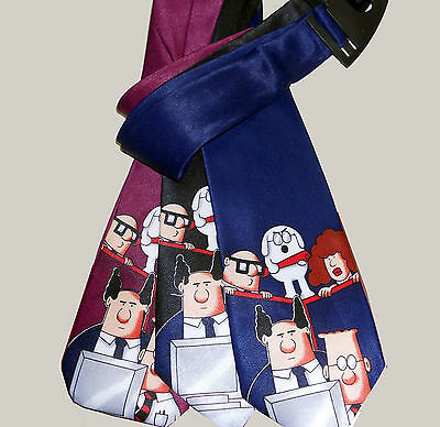 LOT 3 mens ties DILBERT /& DOGBERT cartoon Black-Navy-Maroon Scott Adams TIE TIES