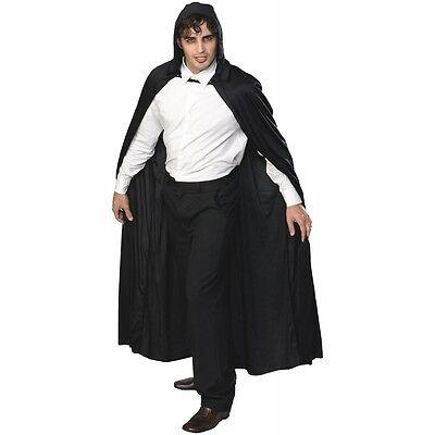 Long Hooded Cape Costume Accessory Adult Black Cloak Halloween Fancy Dress