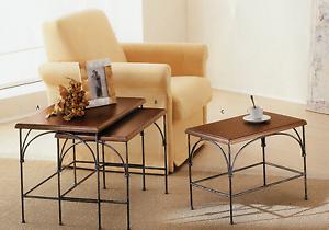 Dettagli su Tavolino salotto ferro battuto ripiano legno arte povera