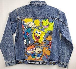 db7ad4861 Details about Members Only Nickelodeon Jacket Denim M 90s Cartoons Arnold  Rugrats Spongebob
