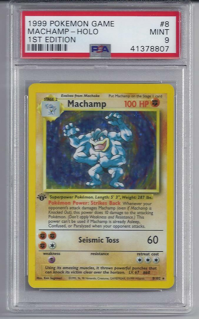 1999 Pokemon Game 1st Edition Machamp Holo 8 102 Rare PSA 9