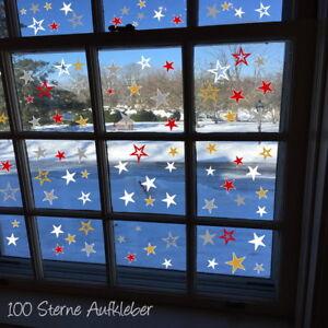 100-Sterne-AA194-Fensteraufkleber-Weihnachten-Dekoration-Fensterbilder