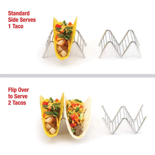 Taco Holder Stand Chrome Finish Stainless Steel Holds Hard Soft Tacos Rack