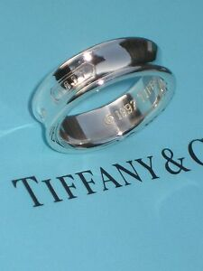 fe0d9f2115120 Details about Tiffany & Co. Sterling Silver Size 7 3/4 Wide Concave Band  1837 Ring