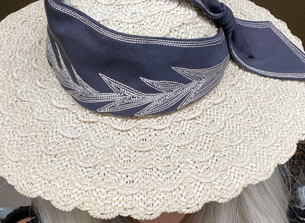 Vtg 1940s Wide Brim Straw Fascinator Hat Embroide… - image 5