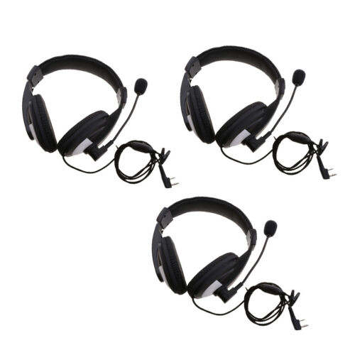 2 Pin Noise Cancelling Overhead Earpiece Headset w// Mic for Two Way Radio