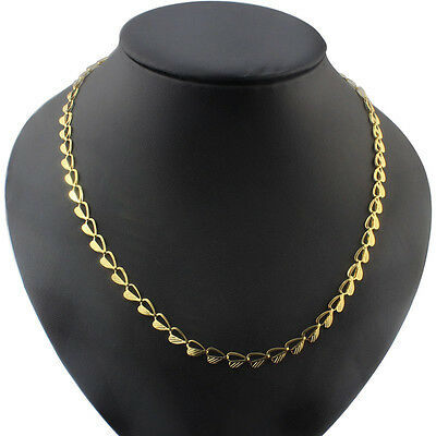 free ship Stainless steel Sheet Heart Link Necklace Chain 6mm 20'' Gold Plated