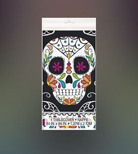 SKULL DAY OF THE DEAD Party Supplies 54X84 Plastic TABLECOVER Printed All Over