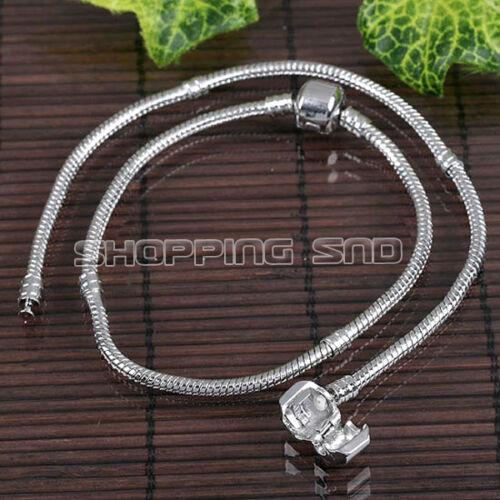 RUBYCA Silver European Charm Bracelet Barrel Clasp Snake Chain for Big Hole Bead
