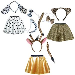 Girls Animal Fancy Dress Giraffe Dalmatian Leopard Zebra Ears Tail Set Uk Ebay