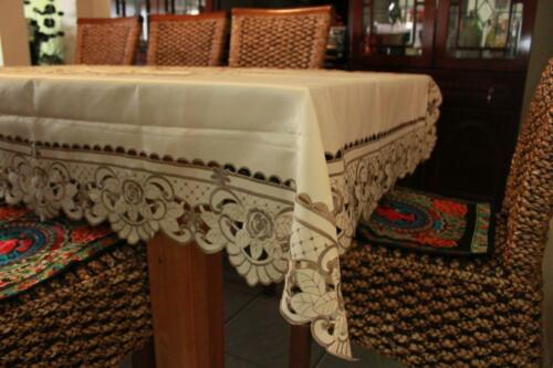 Embroider Rectangle Dinning Tablecloth suit 6-8 seat 150cmX220cm Champagne color