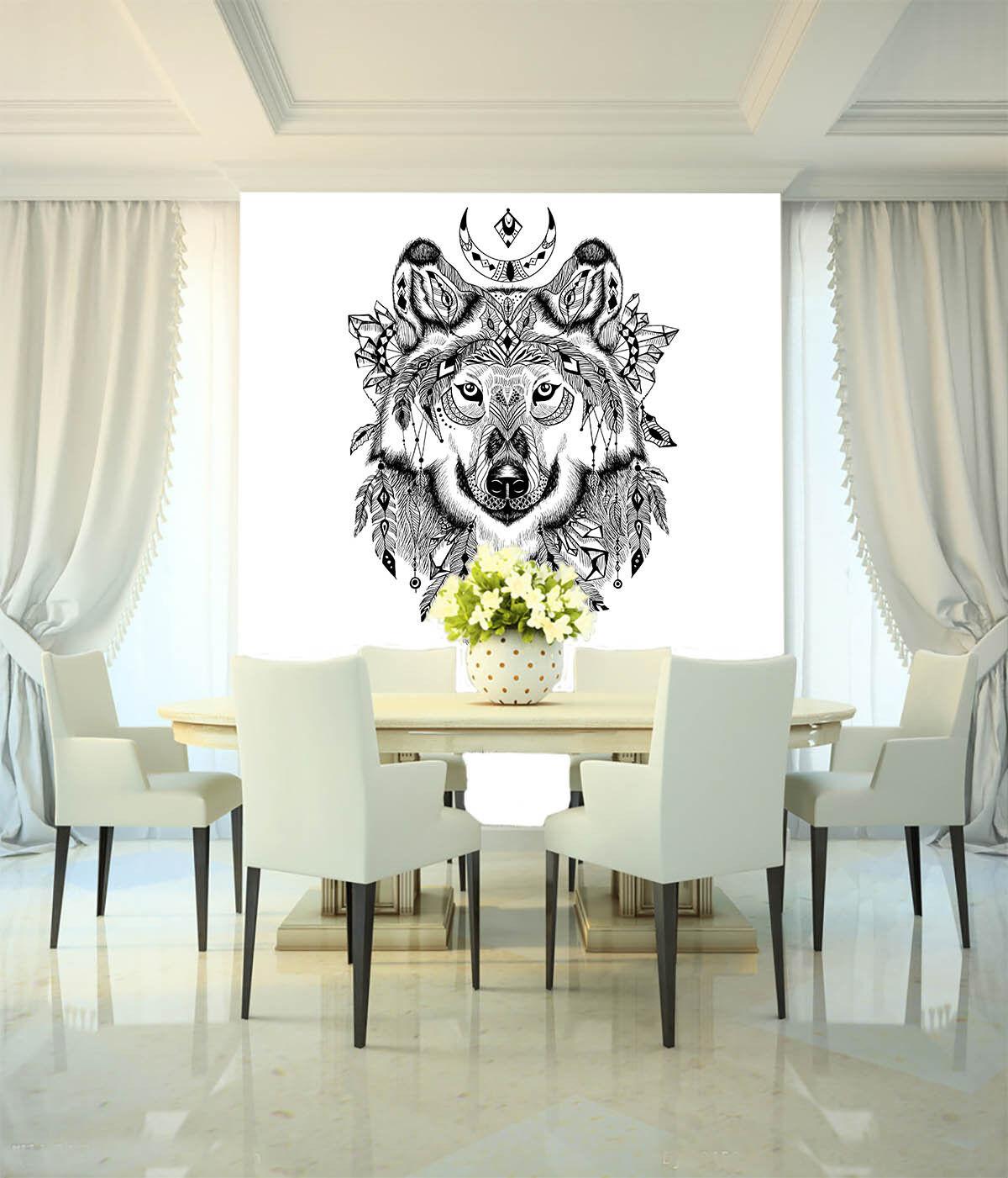 3D Wolf totem 003 Fototapeten Wandbild Fototapete BildTapete Familie DE