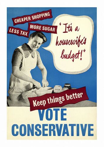 Conservatives Housewifes budget political information  poster reproduction.