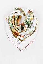 VINTAGE Christian Dior Cream Multicolor Silk Fox & Floral Print Scarf