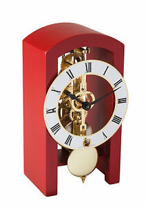 HERMLE-Table-Skeleton-Mantel-Clock-mechanical-8-day-movement-red-Made-Germany