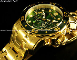 NEW-Invicta-039-s-Men-Pro-Diver-Scuba-Chronograph-Stainless-Steel-Green-Dial-Watch