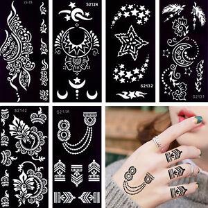 Temporary Henna Tattoo Stencil Moon Star Design Glitter Drawing Body