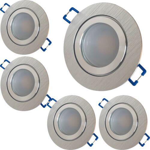 1-10er Sets Bad Einbaustrahler Aqua 5W LED COB 230V Chrom  Matt Silber