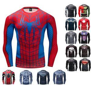Men-T-Shirt-Compression-Tops-Superhero-Avengers-Marvel-Muscle-Fitness-Shirt-Tee