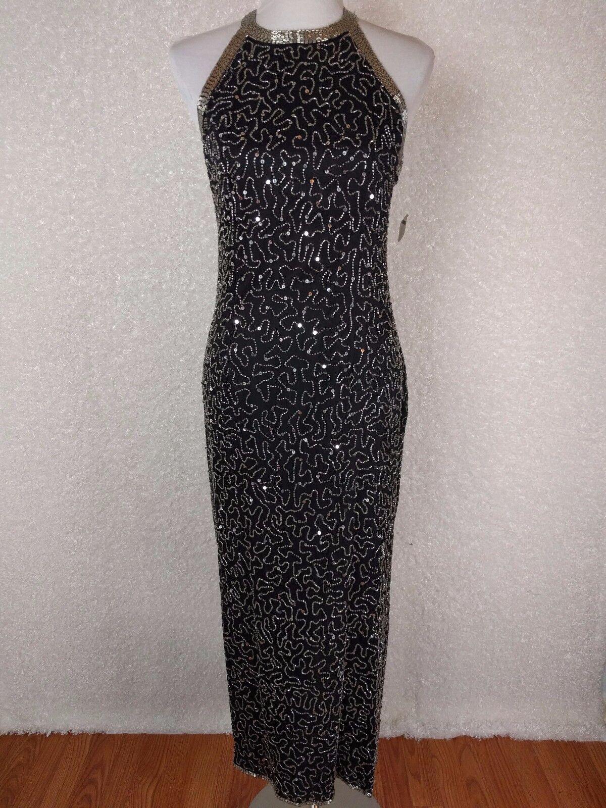 Laurence Kazar damen Gown PL schwarz Beaded Sequin Silk Full Length Dress Vintage