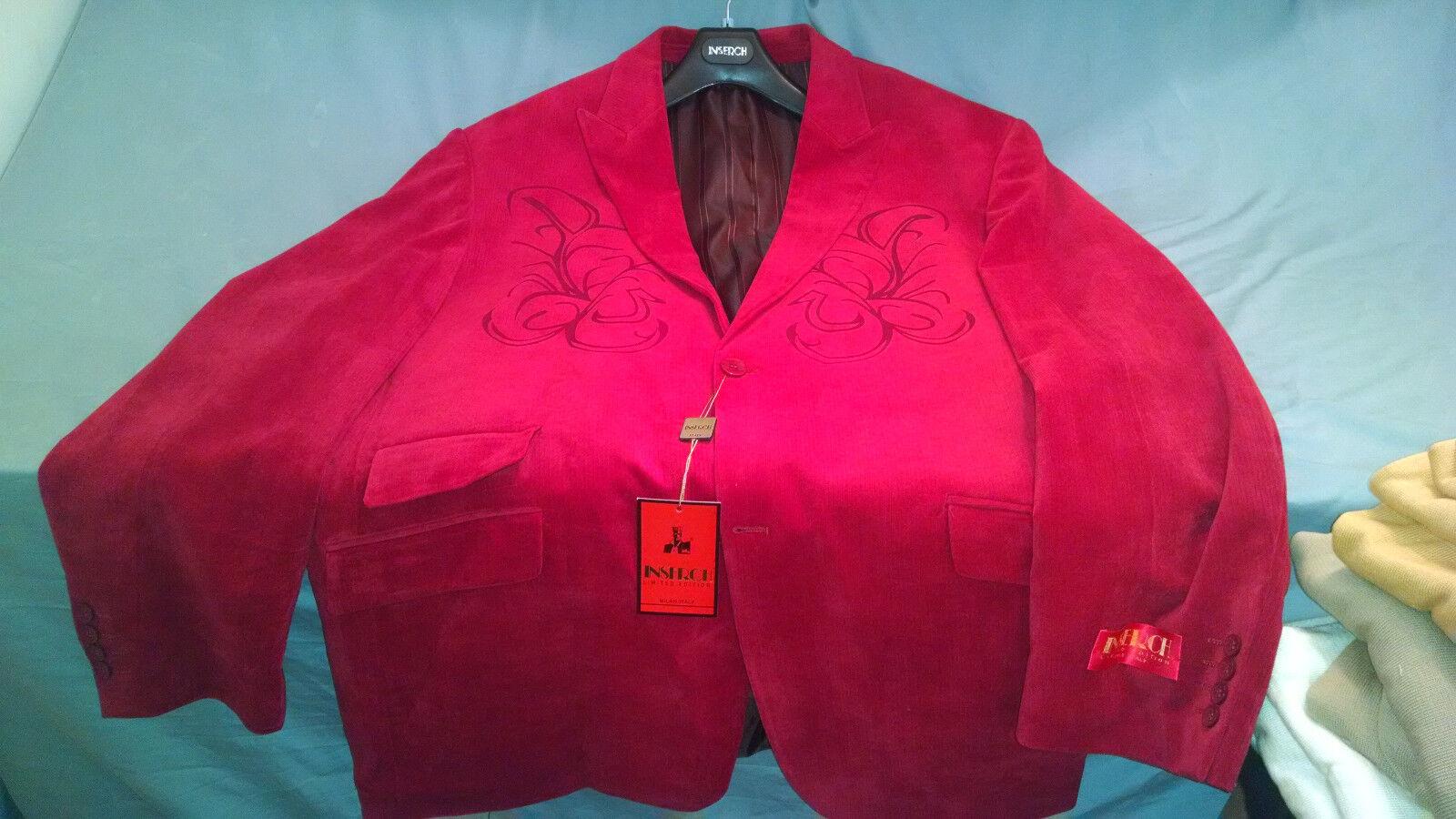 Mens NWT Inserch Poly Blend Fashion Design Blazer Red Size 4XL