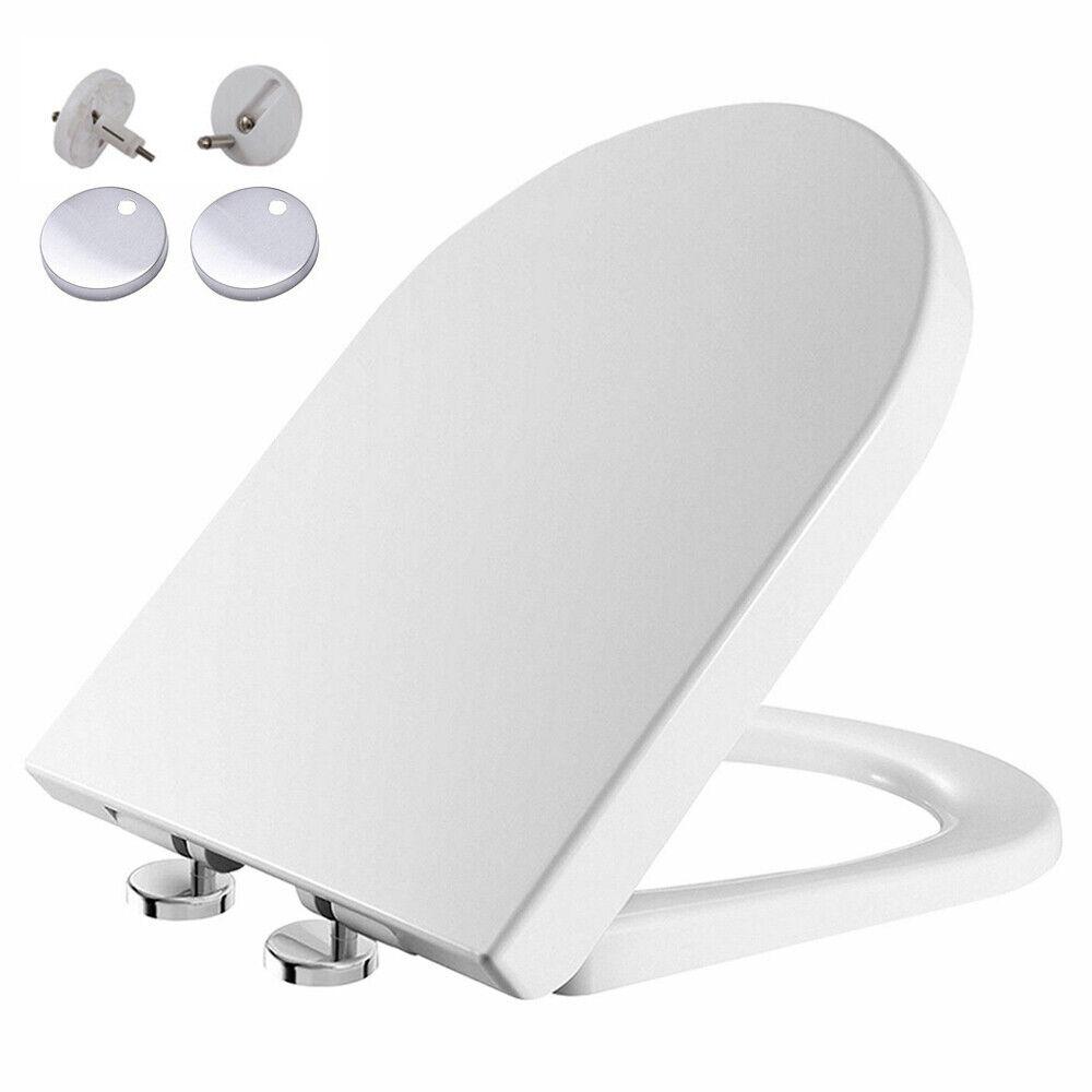 Luxe D forme Heavy Duty Soft Close Blanc Siège De Toilette   avec Top Fixation Charnières