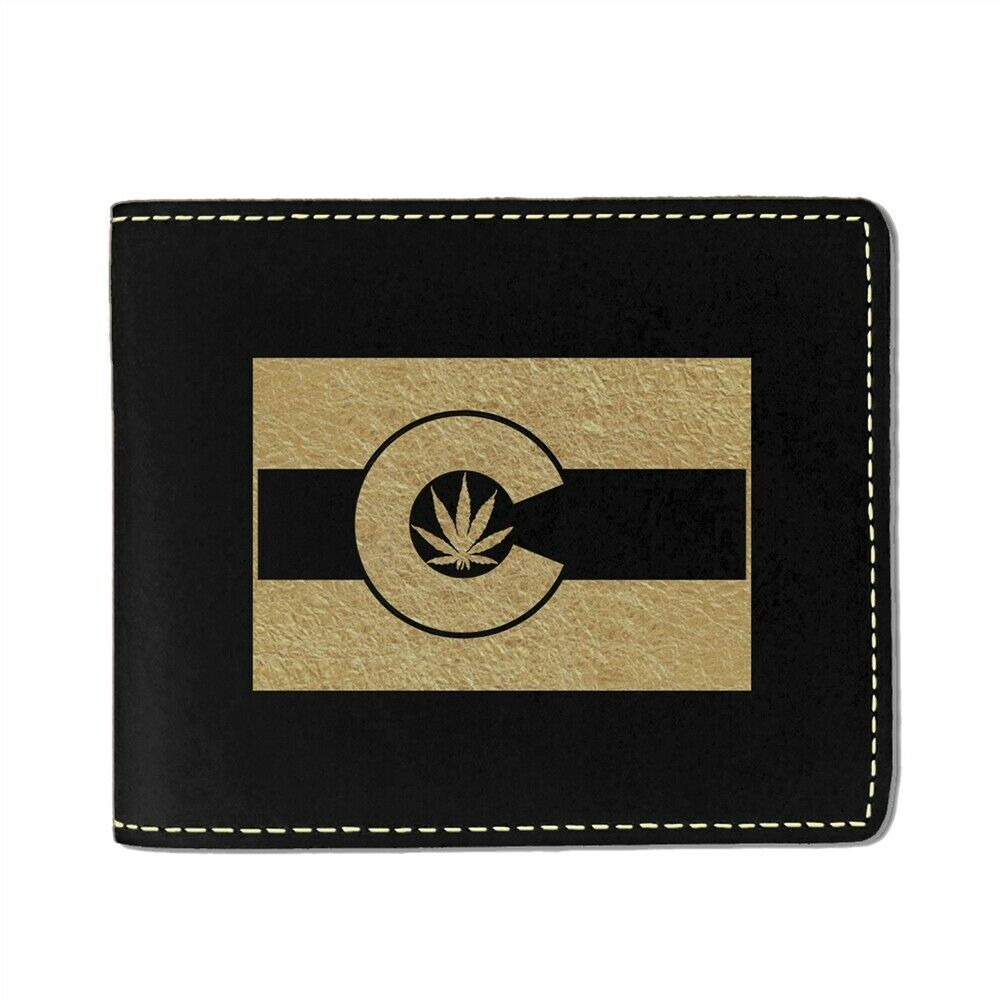 Faux Leather Wallet, Flag of Colorado With Marijuana Leaf