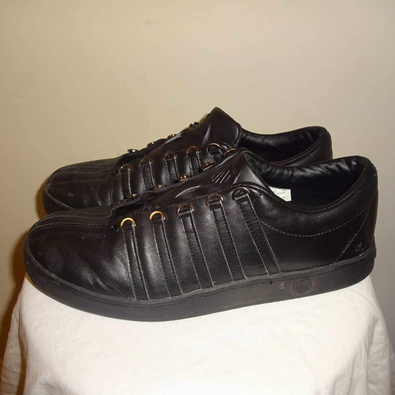 K-Swiss Classic Low Cut Sneakers BLACK Men's Size 10.5