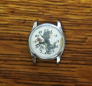 Vintage-wind-up-Tom-amp-Jerry-Character-Watch-for-Repair