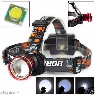 3000-4000LM XM-L T6 LED Headlight Zoomable Flashlight Head Lamp Light AA Battery