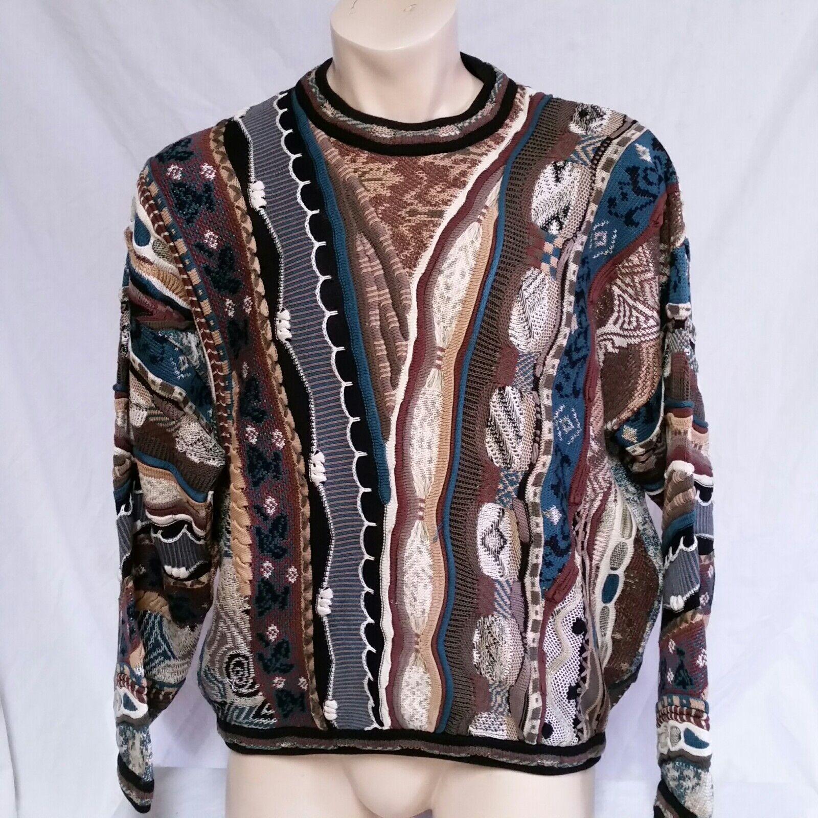 Tundra Canada Sweater Mercerized Cotton 3d TextuROT Bright Loud VTG  Herren Large
