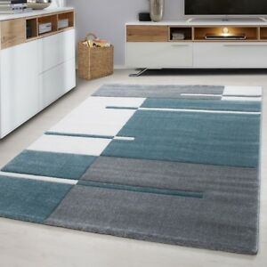 Details About Geometric Rug Modern Grey Blue White Check Pattern Mat Living Room Hall Carpets