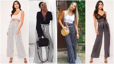 Herzhaft Womens High Waist Paper Bag Palazzo Wide Leg Flared Ladies Stripe Trousers Pants