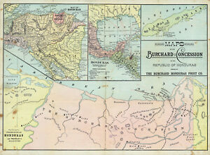 1810-Honduras-Map-Agriculture-Wall-Poster-Vintage-History-Home-School-Office