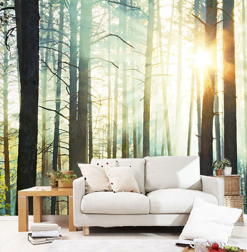 3D Forest Sunshine 719 Wall Paper Wall Print Decal Wall Deco Wall Indoor Murals