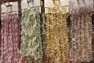 IRIDESCENT DIAMOND BEAD GEM CHAIN GARLAND SILVER CHRISTMAS BAUBLE TREE DECO