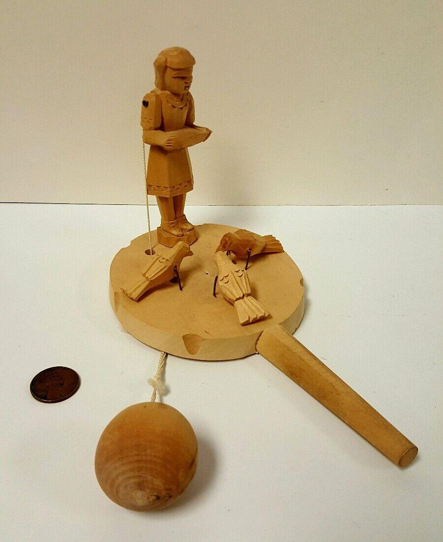 Rare Vintage Folk Art Hand Carved Wood Animated Feeding Birds Paddle Toy Game