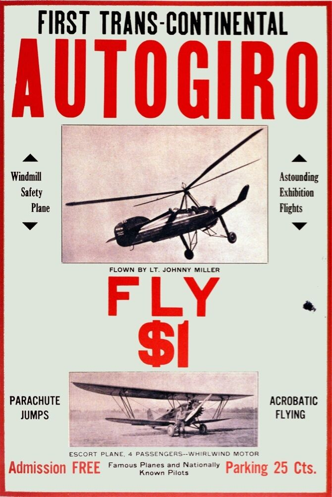 6386.First trans-continental.Autogiro.small airplane.POSTER.Home Office art