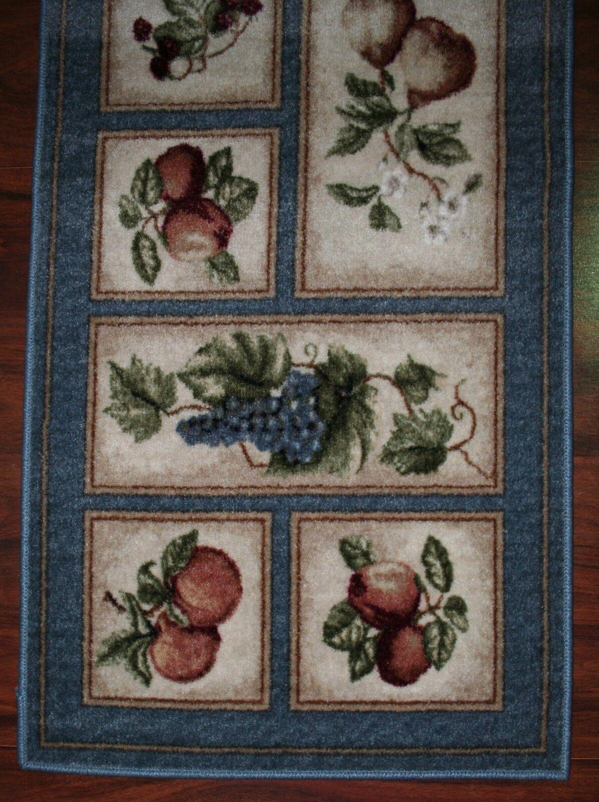 2X9 Kitchen Kitchen Kitchen Runner Mat Rug Sky Blau Beige Washable Fruit Grapes Pears Apples 8d10a0