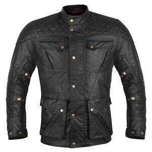 Mens Black Creek Motorcycle Wax Cotton Jacket Biker Waxed