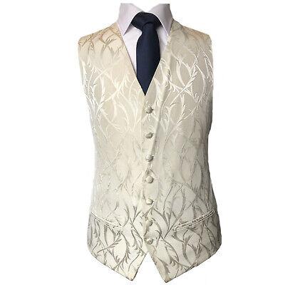 A57 Mens And Page Boy Ivory Cream Leaf Waistcoat Vest Wedding Dress Formal UK