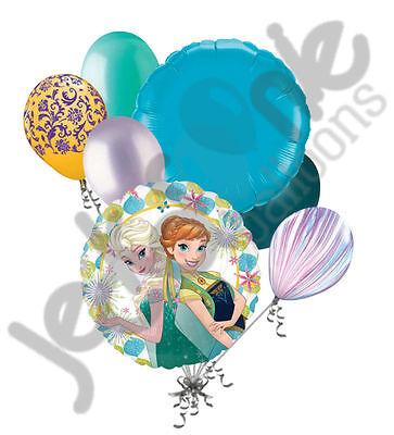 7 pc Disney Frozen Fever Balloon Bouquet Party Decoration Elsa Anna Birthday