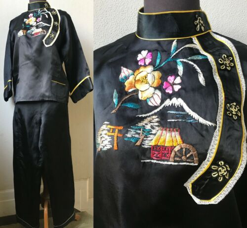 50's Vt. Japanese Hand Embroidered Mt. Fuji Satin