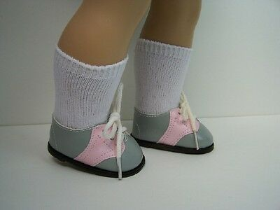 """TAN Tennis Sneakers w//Laces Doll Shoes For 18/"""" American Girl Debs"""